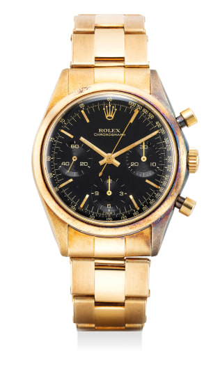 """An extremely rare and highly attractive 14k yellow gold chronograph wristwatch with black """"glossy"""" dial and bracelet"""