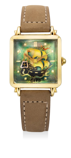 "A fine and attractive yellow gold square-shaped wristwatch with sweep center seconds and ""cloisonné enamel"" dial"