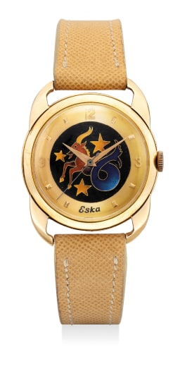 "A fine and attractive yellow gold wristwatch with sweep center seconds, ""crab-claw"" style lugs and ""cloisonné enamel"" dial"