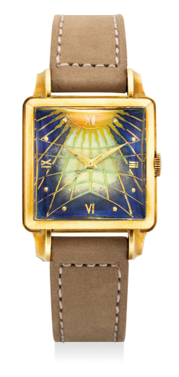 """A fine and attractive yellow gold square-shaped wristwatch with """"cloisonné enamel"""" dial"""