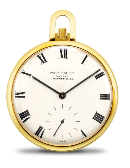 A fine and attractive yellow gold openface pocket watch with presentation box, retailed by Tiffany & Co.