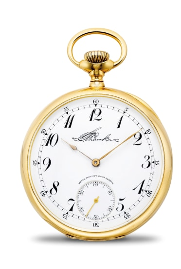 A very rare and unusual 18k gold and enamel openface pocket watch with unique signed dial and Breguet numerals, retailed by Gondolo & Labouriau
