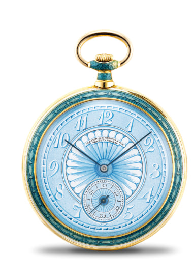 An extremely fine, rare and striking savonette openface pocket watch with painted ceramic dial and flinqué enamel case