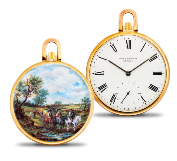 An exceptional and unique yellow gold openface watch with enamel miniature painted by M. Bischoff after a painting by Salomon van Ruysdael, with original Certificate of Origin, documentation from Patek Philippe, hang-tag and presentation box