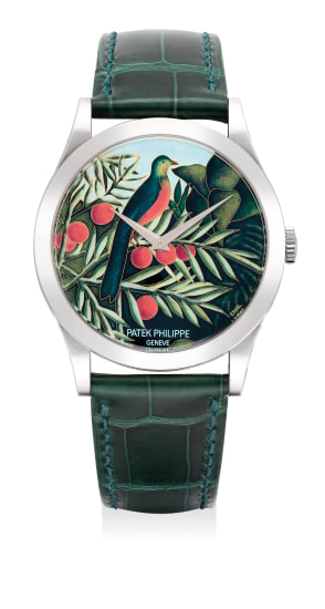 An extremely rare, attractive and striking white gold automatic wristwatch with cloisonné enamel dial, signed by Anita Porchet, hinged case back