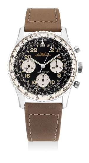 A very fine and attractive stainless steel pilot's chronograph wristwatch with black gilt dial
