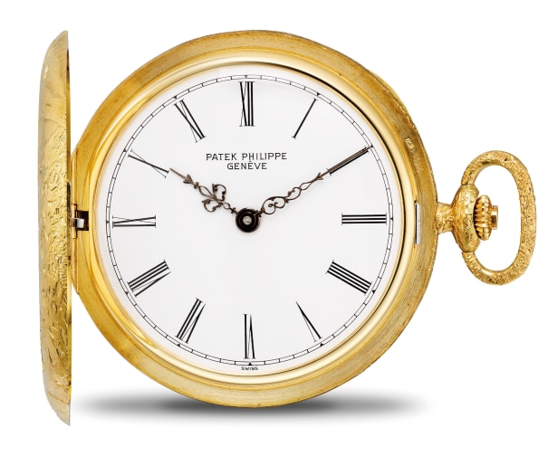 An exquisite and very rare yellow gold hunter case savonette pocket watch with chased case representing a deer hunt scene, and Certificate of Origin, Retailed by Gubelin