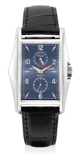 A very fine, attractive and rare white gold rectangular-shaped wristwatch with small center seconds, 10-Day power reserve indicator, made to commemorate the New Millennium