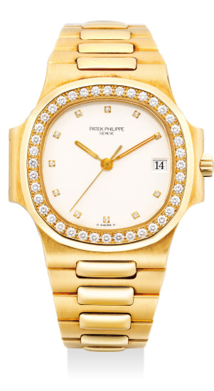 """A very fine and attractive yellow gold and diamond-set wristwatch with sweep center seconds, white """"ceramic"""" dial, date, bracelet, certificate of origin and presentation box"""