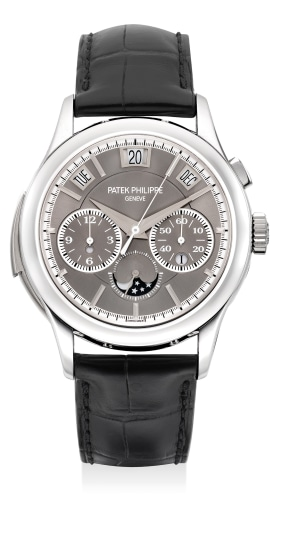 An extremely fine, rare and highly attractive platinum minute repeating single-button chronograph wristwatch with instantaneous perpetual calendar, moon phases, leap year indication, Certificate of Origin and presentation box
