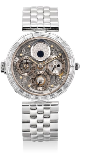 A very fine and rare platinum and diamond-set skeletonized perpetual calendar minute repeating wristwatch with leap year indication, moon phases and bracelet