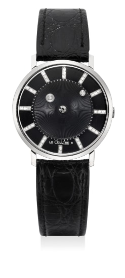 """A fine white gold and diamond-set wristwatch with """"mystery"""" dial"""