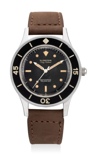 """A very fine and rare stainless steel diver's wristwatch with """"gilt"""" dial and """"bakelite"""" bezel insert"""