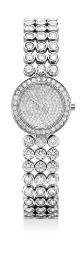 A ladies fine and elegant platinum and diamond-set wristwatch with diamond-set
