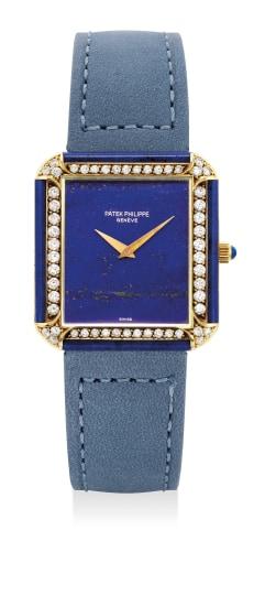 A fine, unusual and rare yellow gold, lapis lazuli and diamond-set wristwatch