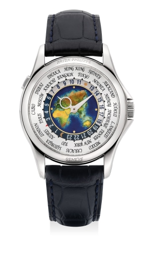 A fine, attractive and rare white gold world-time wristwatch with cloisonné enamel dial, Certificate of Origin and presentation box