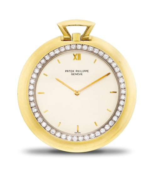 An 18k gold and diamond-set open face pocket watch