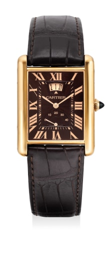 A fine and attractive pink gold rectangular-shaped wristwatch with date and power reserve indication