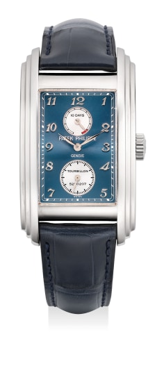 """An extremely fine, attractive and rare white gold rectangular-shaped wristwatch with tourbillon escapement, 10-Day power reserve indication, small center seconds, """"Breguet"""" numerals, Certificate of Origin and presentation box"""