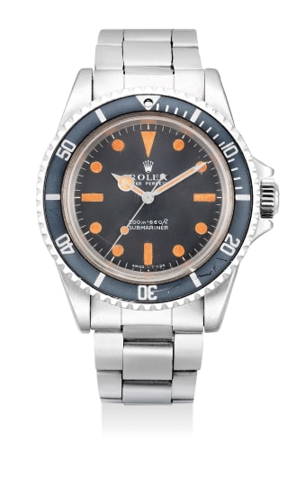 """An extremely attractive and unusual stainless steel wristwatch with center seconds, """"pumpkin"""" dial and bracelet"""