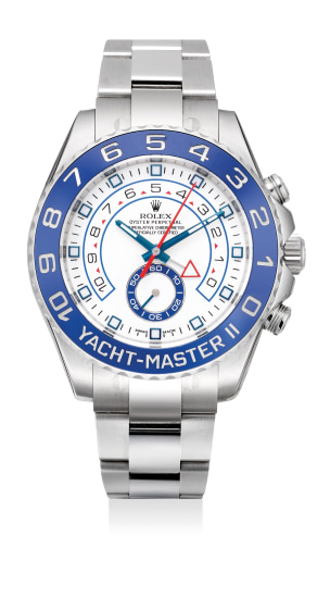 A attractive and fine stainless steel automatic wristwatch with programmable Regatta countdown timer, ceramic active bezel, bracelet, guarantee and presentation box