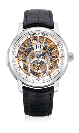 A very fine and exceptional platinum minute repeating jump hour skeletonized wristwatch