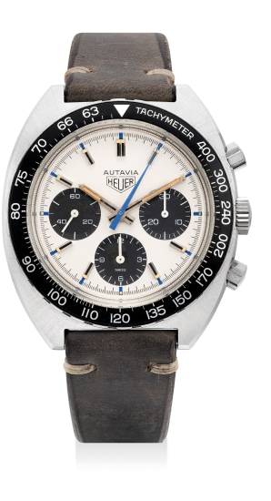 """A very rare and fine stainless steel chronograph wristwatch with """"Siffert colored"""" dial"""