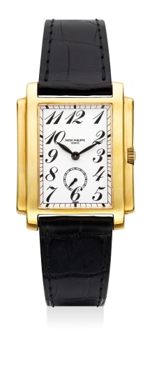 A fine yellow gold rectangular-shaped wristwatch with white porcelain dial with Breguet numerals and outer railway minute track, with presentation box