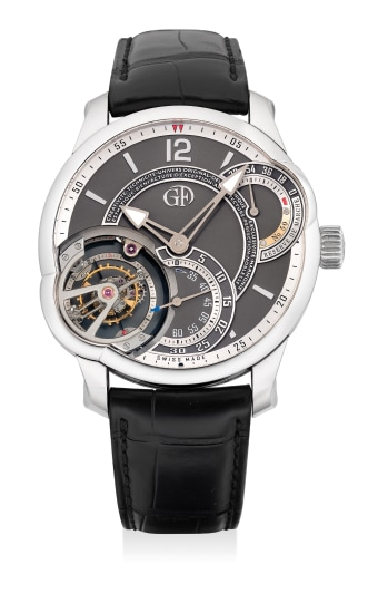 A highly complex, very rare and impressive platinum wristwatch with power reserve indication, inclined 24 seconds tourbillon regulator and Guarantee