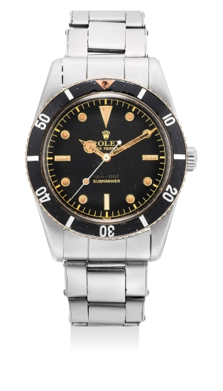 An exceptional and rare stainless steel wristwatch with black lacquered dial and riveted stainless steel bracelet