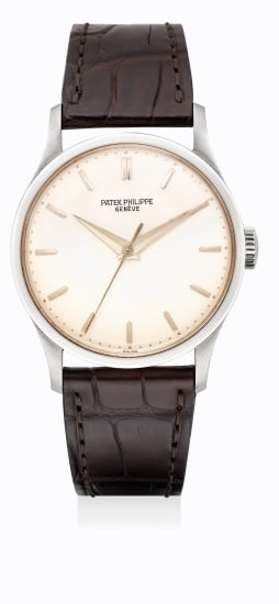 A fine and rare white gold wristwatch with sweep center seconds