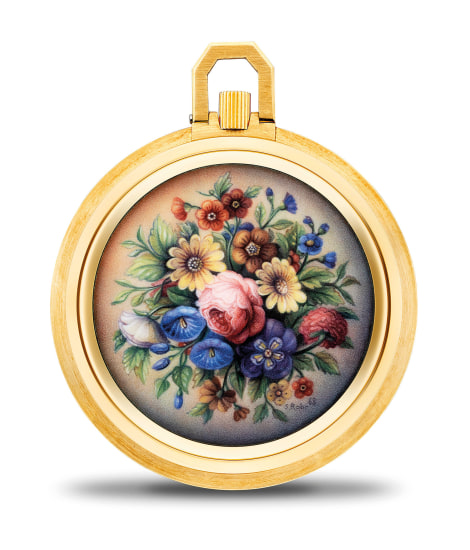 "A probably earliest known, extremely fine, and unique yellow gold openface miniature pocket watch with enamelled ""Bouquet of Flowers"" signed by Suzanne Rohr, retailed by Gubelin and Certificate of Origin"