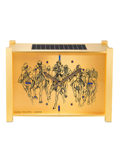 "A rare, attractive and unusual gilt brass, wood and lapis lazuli desk clock with ""Horse Scene"" engraved dial"