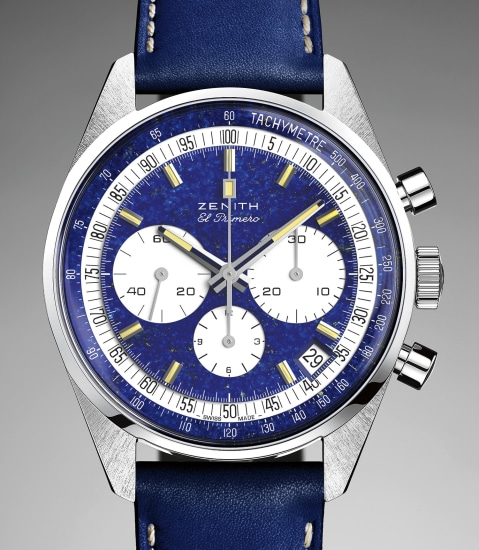 A unique platinum chronograph wristwatch with lapis lazuli dial made in collaboration with Phillips in Association with Bacs & Russo, with proceeds going to charity