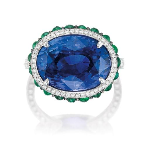 A Colour-Change Sapphire, Gem-set and Diamond Ring