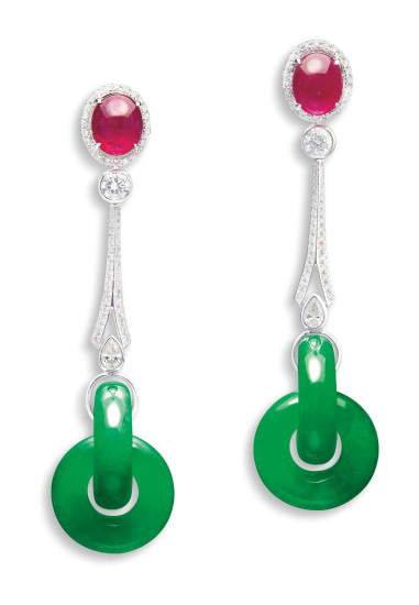 A Pair of Jadeite Double-hoop, Ruby and Diamond Pendent Earrings