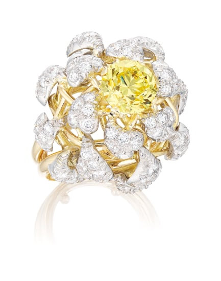 An Unusual Fancy Intense Yellow Diamond and Diamond Ring, Schlumberger for Tiffany & Co., Circa 1960