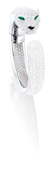 A Diamond, Onyx and Emerald 'Panthère' Bangle, Cartier