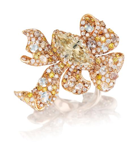 A Dressy Coloured Diamond 'Ribbon' Ring