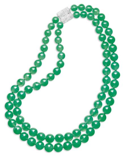 An Impressive Double-strand Jadeite Bead and Diamond Necklace