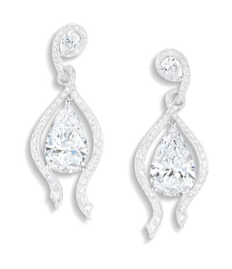 A Fine Pair of Diamond Pendent Earrings