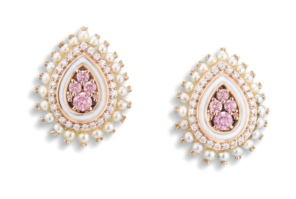 An Elegant Pair of Fancy Pink Diamond, Seed Pearl and Diamond Earrings, Sarah Ho