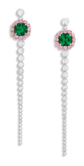 A Pair of Emerald, Pink Diamond and Diamond Pendant Earrings
