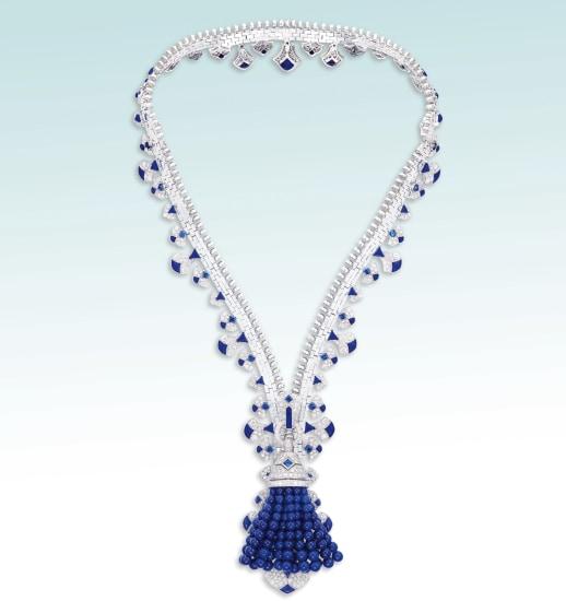 An Elegant and Iconic Lapis Lazuli, Sapphire and Diamond 'Zip' Necklace, Van Cleef & Arpels