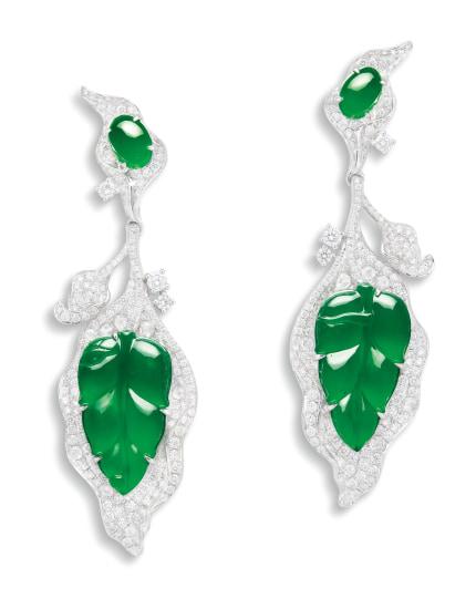 A Pair of Jadeite and Diamond 'Leaf' Pendent Earrings