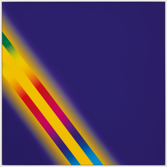 """PHOTOSHOP CS: 60 BY 60 INCHES, 300 DPI, RGB, SQUARE PIXELS, DEFAULT GRADIENT """"BLUE, YELLOW, BLUE"""", MOUSEDOWN Y=10750 X=10300, MOUSEUP Y=16800 X=2300; TOOL """"WAND"""", SELECT Y=6850 X=2300, TOLERANCE=40, CONTIGUOUS=OFF; DEFAULT GRADIENT """"SPECTRUM"""", MOUSEDOWN Y=17650 X=10350, MOUSEUP Y=4050 X=250"""