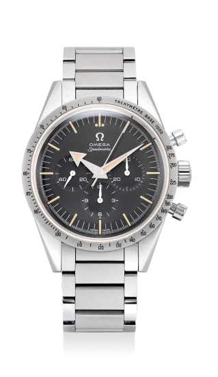 A fine and attractive limited edition stainless steel chronograph wristwatch with bracelet, warranty and presentation box, numbered 307 of a limited edition of 3557 to commemorate the 60th Anniversary of the Omega Speedmaster