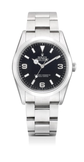 A fine and attractive stainless steel wristwatch with sweep center seconds guarantee and presentation box