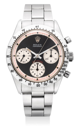"""An extremely fine, attractive and rare stainless steel chronograph wristwatch with bracelet and """"Paul Newman"""" dial"""
