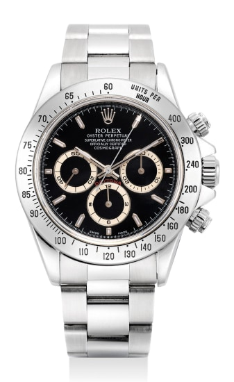 """A fine stainless steel chronograph wristwatch with """"tropical"""" registers and bracelet"""